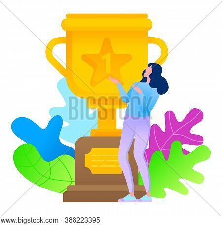Golden Award With Foliage And Woman In Flat Style Happy To Get Trophy. Worker Enjoy Success And Vict