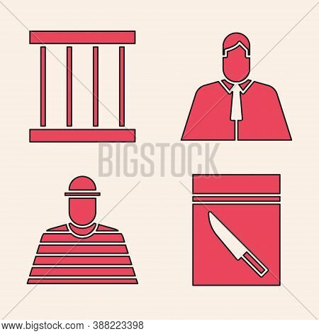 Set Evidence Bag And Knife, Prison Window, Lawyer, Attorney, Jurist And Prisoner Icon. Vector