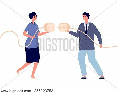 Business Power Connection. Electricity Powering, Woman Cooperation With Man. Cable Plug Connect, Int