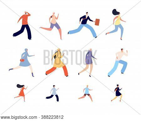 Running People Characters. Athlete Woman, Runners Or Joggers In Sportswear. Active Human Run, Isolat