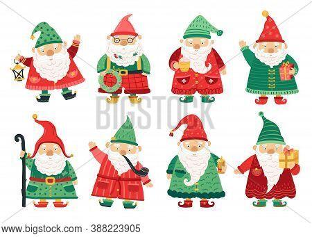 Christmas Dwarfs. Cute Fairytale Gnome, Old Beard Men Greeting With X-mas. Home Garden Magical Chara