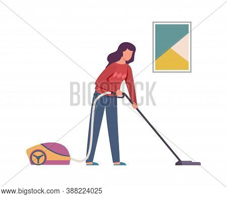 Vacuuming Woman. Female Character Cleaning Home With Vacuum Cleaner, Cleaning Floor And Carpet Servi