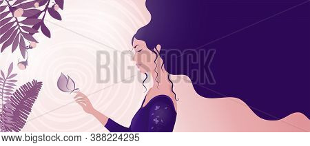 Beautiful Girl Portrait In Profile Thinking And Touching A Butterfly. Fantastic Young Dreamy Brunett