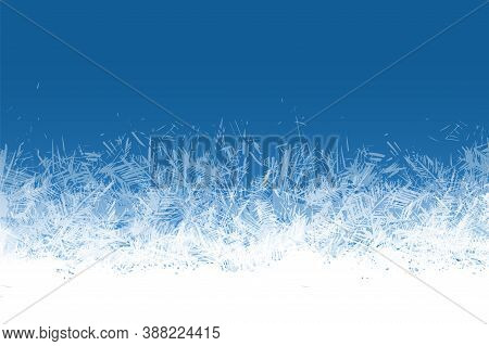 Frost Window. Frozen Ornament Blue Ice Crystals Pattern On Window Winter Beautiful Ice Frame Frosty