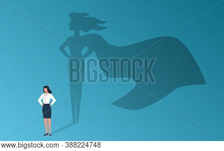 Businesswoman With Superhero Shadow. Confident Strong Woman, Emancipation And Feminism Symbol, Empow