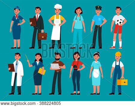 Professionals. Builder And Policeman, Stewardess And Teacher, Programmer And Businessman, Chef And D
