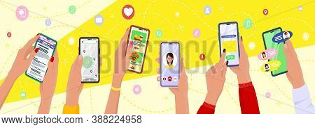 Concept Hand Hold Mobile Phone. Communication Concept On White Background. Social Networking Concept