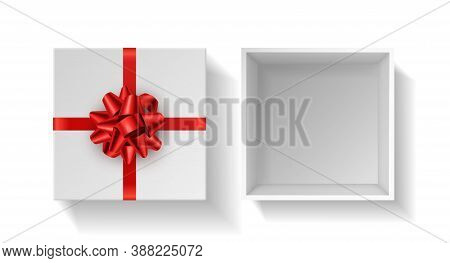 Present Box With Red Bow. Top View Gift White Square Open Case With Red Ribbon. Birthday, Christmas