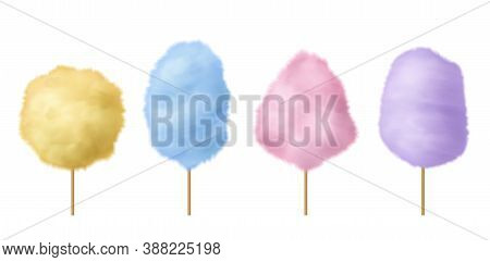 Cotton Candy. Sweet Sugar Candyfloss Pink, Blue And Yellow Yummy Fluffy Summer Dessert With Stick, T