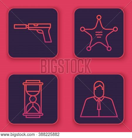 Set Line Pistol Or Gun With Silencer, Old Hourglass With Sand, Hexagram Sheriff And Lawyer, Attorney