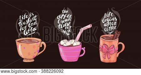Cups With Coffee And Marshmallows, Delicious Hot Drink Drawn In Cartoon Flat Style.