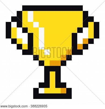 Golden Cup Pixel Art Illustration. Icon Of Golden Trophy Successful Completion Of Game. Reward For C