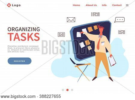 Landing Page Template With Man Make Organizing Tasks. Planning And Time Management Concept With Pers