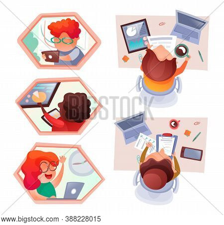 Set Of Cartoon Characters Topview At Work Table In Office. Teamwork Process In Office. People Using