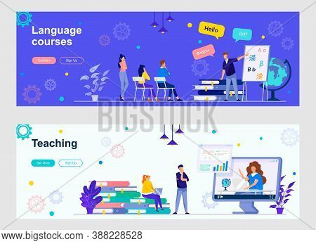 Language Courses And Teaching Landing Page With People Characters. Online Distance Learning, Teachin