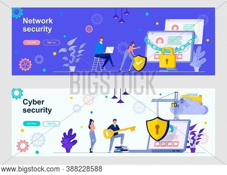 Cyber Security Landing Page With People Characters. Internet Privacy, Password Identification Web Ba