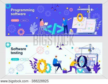 Programming Software Landing Page With People Characters. Program Debugging And Optimization Web Ban