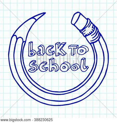 Hand Drawn Vector Doodle Back To School Outline Words In A Circle Bended Pencil Frame Over Chequered