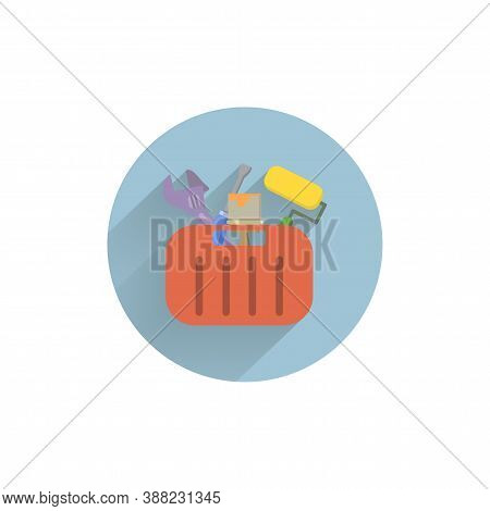 Toolbox With Tools Colorful Flat Icon With Long Shadow. Toolbox Flat Icon