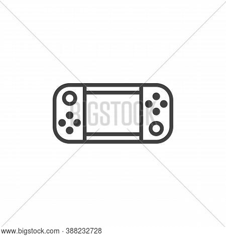 Handheld Game Console Line Icon. Linear Style Sign For Mobile Concept And Web Design. Gamepad Outlin