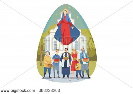 Religion, Bible, Christianity Concept. Young Maria Mother Of Jesus Christ Protecting Caring About Pe