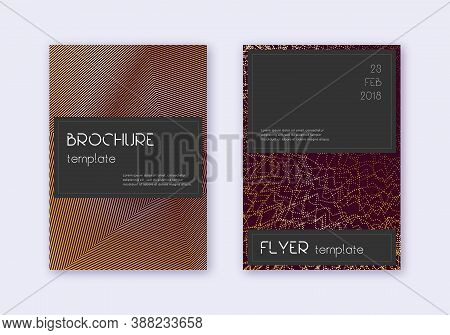 Black Cover Design Template Set. Gold Abstract Lines On Maroon Background. Alluring Cover Design. Be