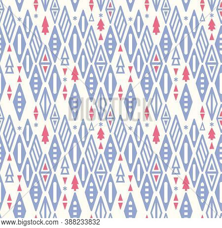 Christmas Geometry Seamless Pattern. Blue Pink Triangles And Christmas Tree Stylized. Vector Illustr
