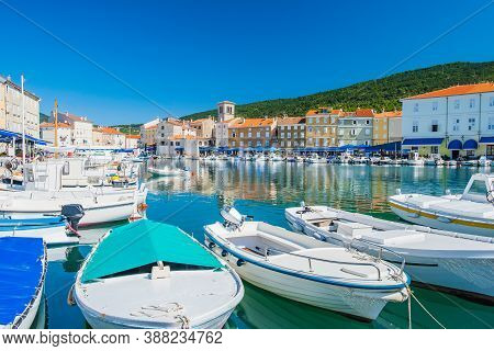 Seafront And Marina With Boats In The Town Of Cres, Island Of Cres, Kvarner, Croatia