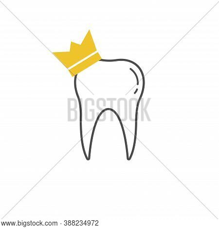 Tooth Icon Dent Smile Crown Logo Vector