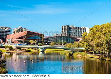 Adelaide, South Australia - February 23, 2020: City Skyline With Adelaide Convention Centre In The M