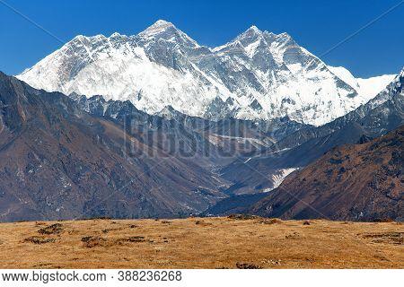 View Of Mount Everest, Nuptse Rock Face, Mount Lhotse And Lhotse Shar From Kongde - Sagarmatha Natio