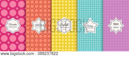 Vector Circles Seamless Patterns Collection. Set Of Colorful Background Swatches With Elegant Minima