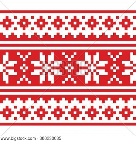 Christmas Scandinavian Long Vector Repetitive Red And White Pattern - Seamless Festive Knnitting, No