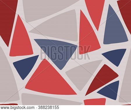 Triangle Shapes Abstract Vector Seamless Pattern. For Fabric, Web Banner, Page Fills, Paper, Wall Ar