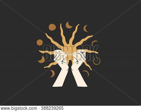Hand Drawn Vector Abstract Stock Flat Graphic Illustration With Logo Elements , Human Hand Holding S