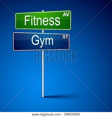 Vector direction road sign with fitness gym words.