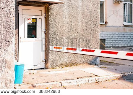 Checkpoint With Red And White Barrier And Room For Security Guard. Barrier. Protection. Secure. Perm