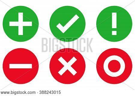 Plus Minus Check Mark Icon Sign Vector