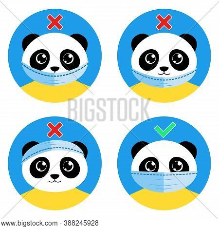 The Cute Panda Bear Shows How To Wear Face Mask Correctly. Right And Wrong Ways Of Wearing Medical P