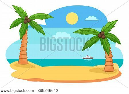 Tropical Exotic View With Island, Shore Or Beach And Palm Trees, Sea Or Ocean With Ship, Skyline And