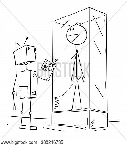 Vector Cartoon Stick Figure Drawing Conceptual Illustration Of Extinct Man Or Male Human Being Exhib