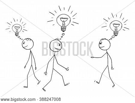 Vector Cartoon Stick Figure Drawing Conceptual Illustration Of Group Or Crowd Of Men Or Businessmen
