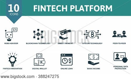 Fintech Platform Icon Set. Collection Contain Direct Payment, Robo Advisor, Blockchain Technology, P