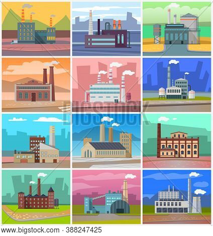 Industrial Enterprises, Cityscapes And Cities With Factories. Smoke And Fumes From Pipes, Industry D