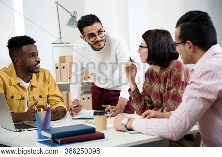 Group of university students are working on a new project together