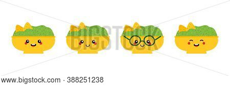 Mexican Guacamole Dip, Sauce Bowls Cartoon Characters, Cute, Happy And Smiling.