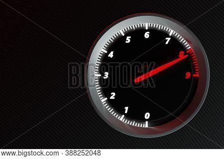 3d Illustration Close Up Black Car Panel, Digital Bright Tachometer. Tachometer Arrow Shows Maximum