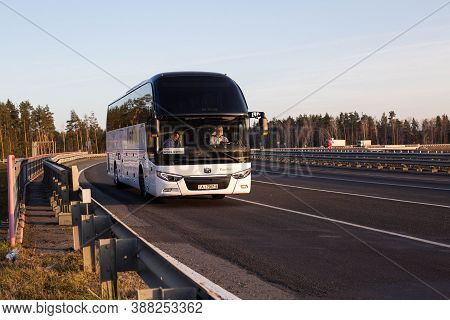 Bobruisk, Belarus 26.06.2019: The Comfortable Passenger Bus Travels On The Highway, Tourism