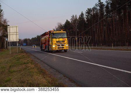 Bobruisk, Belarus 26.06.2019: Truck Fuel Truck Tanker Carries Dangerous Goods On The Highway Against