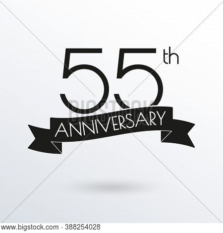 55 Years Anniversary Logo With Ribbon. 45th Anniversary Celebration Label. Design Element For Birthd